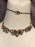 1950s Bib Necklace Glass Amethyst Aurora Borealis Crystal Vintage Retro Metal