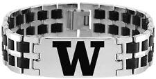 UNIVERSITY WASHINGTON HUSKIES UW * Stainless Steel Rubber Link Bracelet w/Logo