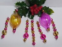 Vintage Mercury Glass Bead Icicles 7 Christmas Ornaments PINK GOLD