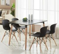 Alessia Dining Set - 4 x Alessia Eiffel Chairs & Black Halo Dining Table Large