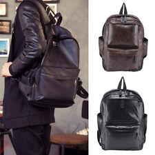 Fashion Men Women Leather Black Backpack Satchel Rucksack Shoulder School Bag UK