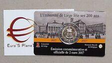 Coin card 2 euro 2017 BELGIO Belgique Belgica Belgie Université Liège 200 ans Fr