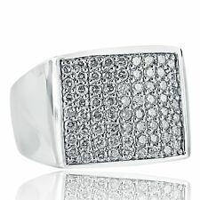 14K White Solid Gold Men's Ring 2.26 Carat Genuine Diamond Square Top Wide Band