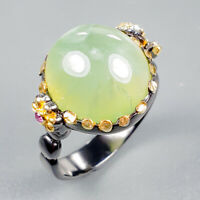 Vintage Natural Prehnite 925 Sterling Silver Ring Size 9/R123455