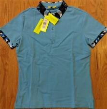 $195 Mens Authentic Versace Jeans Contrast Collar Polo Shirt Light Blue 48 Small