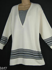 LAURA ASHLEY VINTAGE NAUTICAL SEASIDE SAILOR STRIPE COTTON JUMPER, LARGE