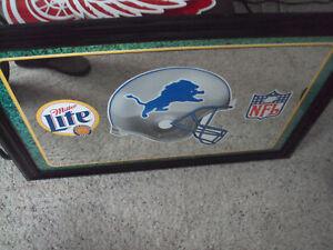 Miller Lite Detroit Lions NFL Bar Mirror Man Cave Pick Up Only