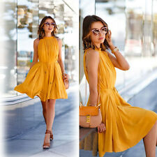 Mujer Casual Verano Sin Mangas Fiesta de noche playa vestido corto mini amarillo