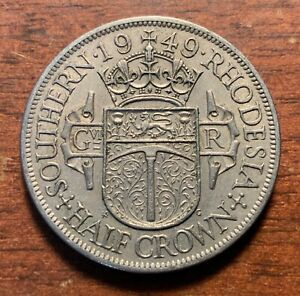 1949 Southern Rhodesia half crown - high grade