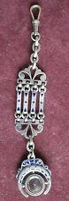 Clé de châtelaine art déco Boussole - Métal guilloché argenté ou nickelé & émail