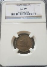 1857 Flying Eagle Small Cent NGC AU50    Additional Items Ship Free