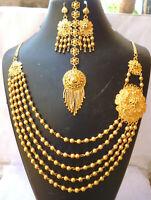 22K Gold Plated Flower Beautiful Necklace Earrings Tikka Bridal Set Fashion ..