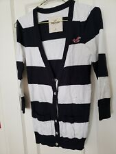 Hollister black and white stripes long sleeves button cardigan SM