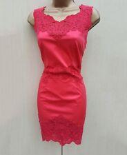 Karen Millen Coral Red Cotton & Lace Panel Cocktail Wiggle Pencil Dress 8 UK