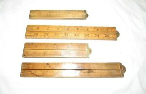 4 Old wooden rulers measures folding rules old woodworking tools vintage tools