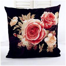 destockage housse de coussin neuve en velours imprimé de roses sur fond noir