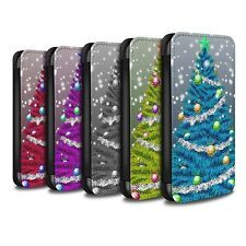 STUFF4 PU Leather Case/Cover/Wallet for Samsung Galaxy J3/Christmas Tree