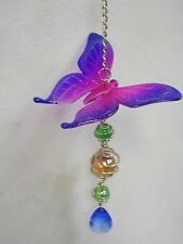"""New listing Butterfly Sun Catcher Mobile Acrylic w/ Marbles / Faceted Bead Blue-Violet 13"""""""