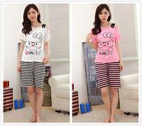 Cartoon Cat Smile Women Sleepwear Pajama Set Nightwear Shirt & Shorts