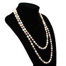 Single long 8-9mm natural freshwater cultured Multi-Color pearl necklace 30""