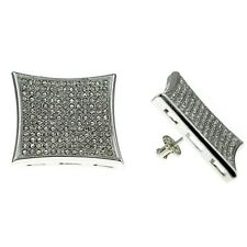 Huge 25mm Kite Silver Tone Iced-Out Large Screw Back Micro Pave Hip Hop Earrings