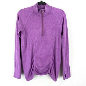 Athleta 1/4 Zip Ruched Top Long Sleeves Size Large