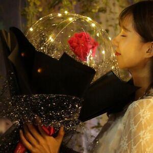 LED Luminous Balloon Rose Bouquet Transparent Bobo Ball Rose Valentines Da
