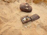 Rare Antique Ancient Egyptian Jewelry Box+29Silver Gold Gild Ushabti Serv2480BC