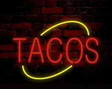 """Tacos 17""""x14"""" Neon Sign Light Lamp Beer Bar With Dimmer"""