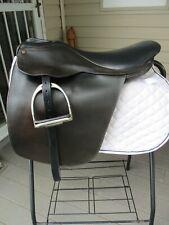 "21"" MED COLLEGIATE CUTBACK SADDLE SEAT English Saddle w LEATHERS & IRONS #6525"