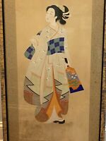 "VINTAGE LARGE FRAMED ASIAN ART JAPANESE PAINTING GEISHA ON SILK FABRIC 55"""