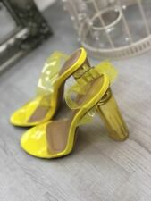 New Womens Ladies High Heel Sandals Perspex Wrap Ankle Block Heels Party Shoes