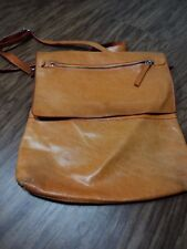 Maurizio Taiuti Tangerine Pebbled Leather Fold Over Satchel Bag, Genuine Leather