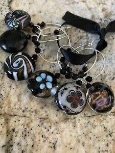 HOT! GREAT  BLACK Glass Round  Wine Glass Charms  Set Of 6