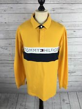 TOMMY HILFIGER Retro SPELL OUT Long Sleeved Polo Shirt - XL - Great Condition