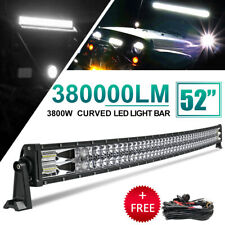 52 INCH 3800W CURVED LED LIGHT BAR DRIVING OFF-ROAD COMBO BEAM DRL FOG SUV 54""