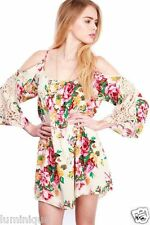 Bohemian Floral Cold Off Shoulder Dress Spring Gypsy BOHO Hippie Summer Sexy