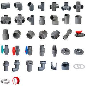 Grey PVC 50mm ID Pressure Pipe Fittings Metric Solvent Weld Various Parts