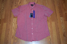 NWT Mens NAT NAST American Fit Linen SS Button Up Shirt Heathered Red S Small