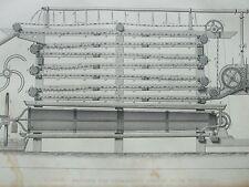 Antica Stampa 1854 Incisione amido Macchina per separare fecola di patate