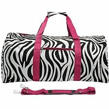 WORLD TRAVELER 22 INCH DUFFLE BAG, PINK TRIM WITH ZEBRA PRINT - ONE SIZE
