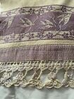 """Vintage embroidered crochet lace Linen 13""""x29"""" Stamped 2227"""