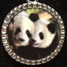 "Panda Bears Charm Tibetan Silver with 18"" Necklace F54 BIN"