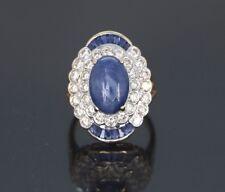 14k ovalado de oro amarillo azul cabujón diamante zafiro anillo de cóctel Banda