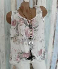 Italy Mode Bluse Tank Top Shirt Blumen Top Tunika 38-40-42-44