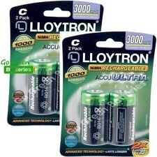4 x Lloytron C Size 3000 mAh NiMH Rechargeable Batteries LR14 HR14 DC1400 ACCU