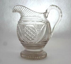 Biedermeier Jug about 1830 Crystal Glass Deep Cut