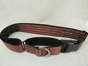 """Buckle-Down Vintage US Flag Stretch Martingale Dog Collar, 1.5"""" Wide-Fits 18-32"""""""