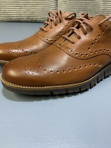 New Cole Haan Zerogrand Wingtip Oxford Shoes C29411 Brown Mens Size 11