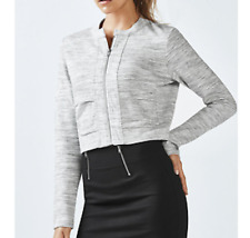 Fabletics size XXL 18-20 Magnolia Jacket Gray Heathered Stretch Zip Up moto crop